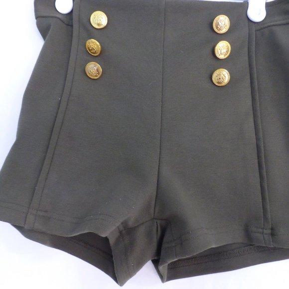 SEDUCTIONS, medium, olive green shorts, zip back